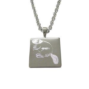 Silver Toned Etched Beaver Pendant Unisex Necklace